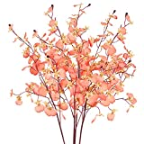 FLOWRY 4 ramos de orquídeas artificiales de flores falsas de seda Phalaenopsis flores de plástico para arreglos hogar, jardín, fiesta, decoración de boda