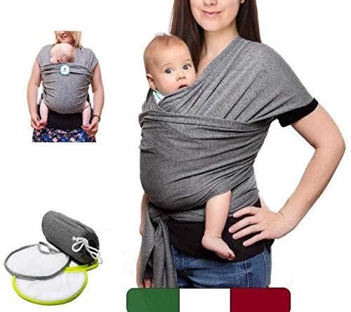 BabyTools® Fascia Porta Bebé (100{12117cee7015cfd75e4cc1715bcfecdffef4ba97fd9c4227fb31e80408195a9b} MADE IN ITALY) con 2 BAVAGLINI in Regalo - Marsupio Neonati Bambini in Cotone ORGANICO - Fascia Neonato Bambino in Tessuto Morbido,Leggero,Certificato fino a 15 Kg