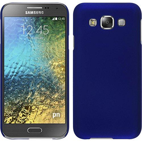 PhoneNatic Hülle kompatibel mit Samsung Galaxy E5 - Hülle blau gummiert Hard-case + 2 Schutzfolien