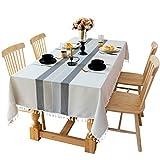 DAOMO テーブルクロス 高級感 テーブルカバー テーブルマット 耐熱 汚れ防止 手入れ簡単 タッセル付き インテリア用品(グレー、140x180cm)