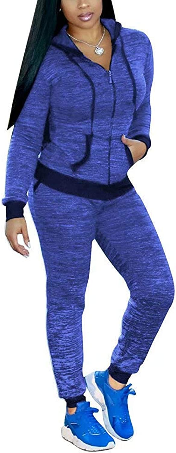 Dolwins Women 2 Piece Outfits Hooded Jacket and Skinny Pants Suit Sweatsuits Jogger