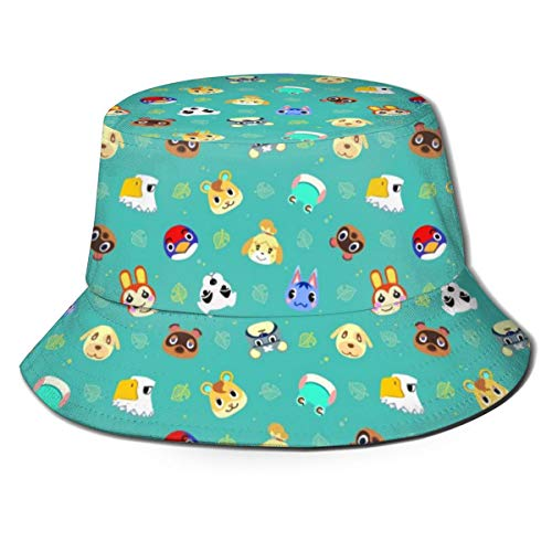 ACOGO Animal-Crossing Sun Hat for Men/Women, Sun Protection Wide Brim Bucket Hat Outdoor Breathable Packable Boonie Cap for Travel Fishing, Cartoon Animal2, One Size