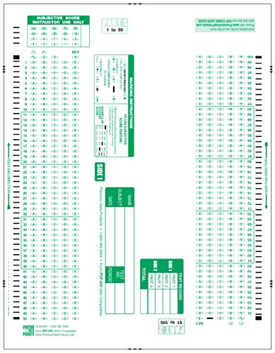 884-E Compatible, PDP-200 Test and Exam Sheets- 100 Sheet Pack