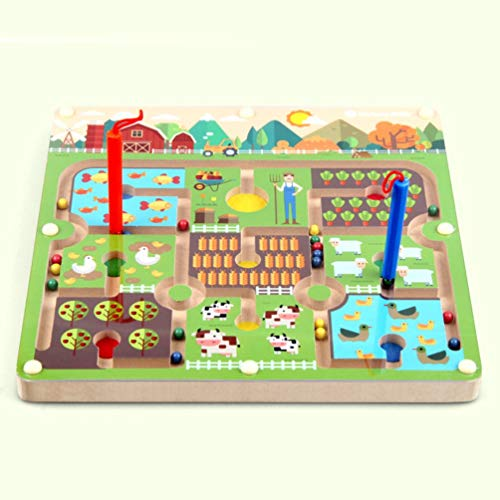 HETUI Laberinto magnético de Madera, Rompecabezas, Juguetes interactivos, Cuentas magnéticas, Laberinto, Juguete Educativo (Multicolor)