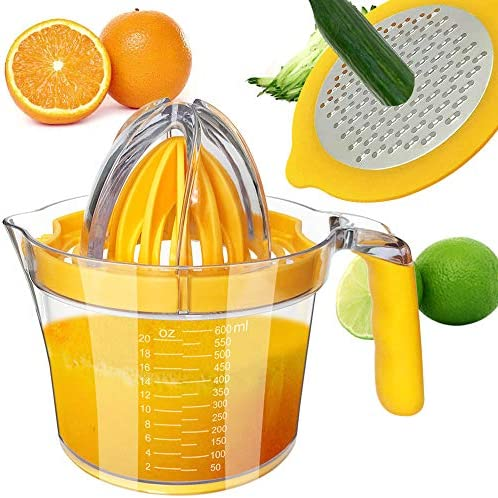 CHEFLY Multifunctional Citrus Squeezer with Two Reamers Stainless Steel Vegetable Grater 600ML product image