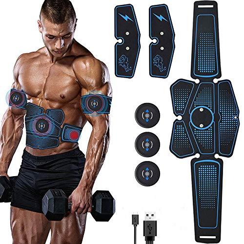 TBYGG Recargable Electroestimulador Muscular Abdominales Masajeador Eléctrico Cinturón Trainer ABS Electroestimulación Abdomen/Brazo/Piernas/Glúteos