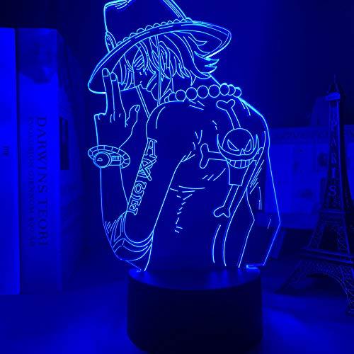 Luz nocturna 3D de Portgas d Ace, LED, luz nocturna para niños, dormitorio, decoración, anime japonés, lámpara de una pieza 3D de regalo, lámpara de mesita de noche fría ZGLQ