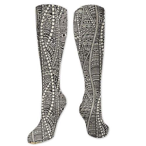 heefan Motivos africanos tribales Unisex Poliéster + Spandex Calcetines de moda, Botas de cosplay Calcetines largos de tubo sobre la rodilla Calcetines altos