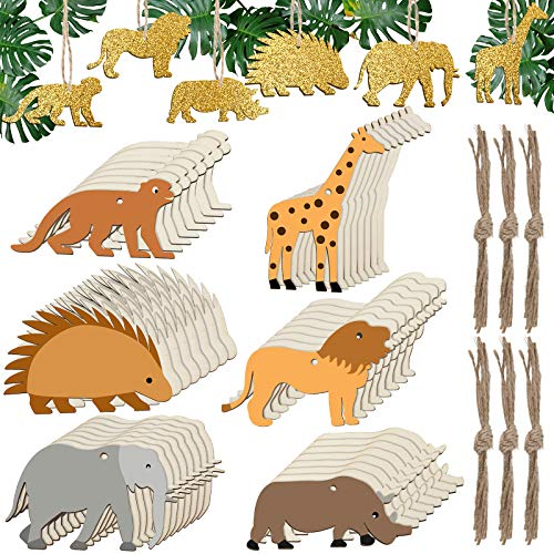 48 Pieces Animals Unfinished Wooden Cutouts Forest Hanging Wood Cutout Lion Elephant Rhino Hedgehog Monkey Giraffe Shape Blank Wood Slices for DIY Craft Projects Decorations