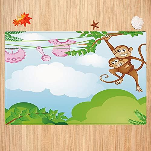 Alfombra de baño Antideslizante,Guardería, Mono columpiándose con el niño Ropa de bebé Chimpancé Jungle Joy Unión, Verde Marrón R Apto para Cocina, salón, Ducha (50x80 cm)