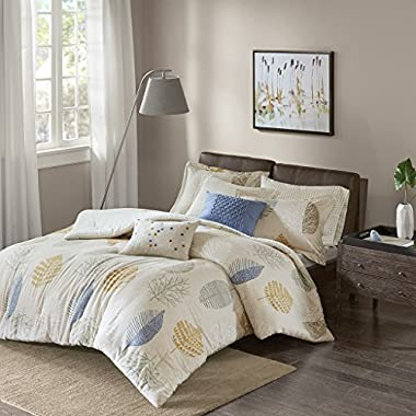 Madison Park Mina Cotton Flannel Comforter Set Blue Full/Queen