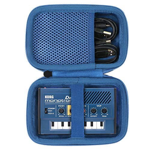 co2CREA Hart Reise Tragen Tasche für KORG monotron DELAY Analoger Ribbon-Synthesizer (Nur hülle) (Schwarz Hülle + blauer Reißverschluss)