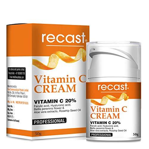 Recast Vitamin C Cream - Anti aging cream for fine lines, wrinkles, dark spots, uneven skintone - with Vitamin C, Hyaluronic acid, Glutathione and Bellis flower 50g