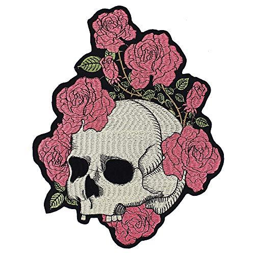 Emdomo - Parche bordado diseño calavera rosas, apliques