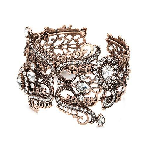 N a Vintage Indische Breite Weiße Kristallblume Manschette Armreif Für Frauen Antik Gold Armband Türkischen Hochzeitsschmuck