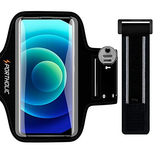 PORTHOLIC Fascia Braccio per Smartphone, Porta Telefono Corsa Cellulare Correre per iPhone 12 11 Pro/Max/X/XS/8p/7p,Galaxy S20/10+/9+/8+, Huawei P40/30/20 Lite, Xiaomi Redmi mi 9 etc, 6,9'