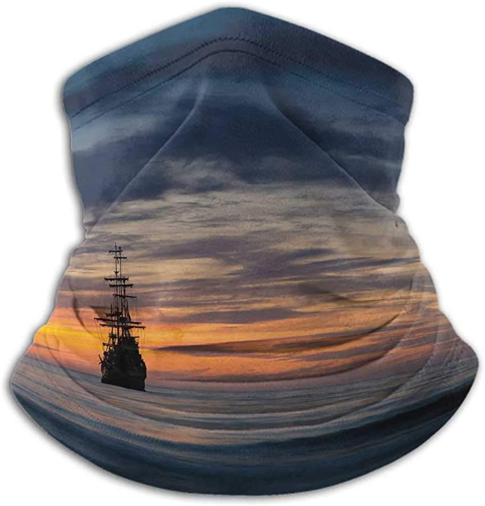 Face Scarf Mask For Men Pirate Ship Fishing Neck Gaiter Sun Protection Old Sailboat in Majestic Sunset Scenery Tropical Waters Maritime Dark Blue Salmon Black