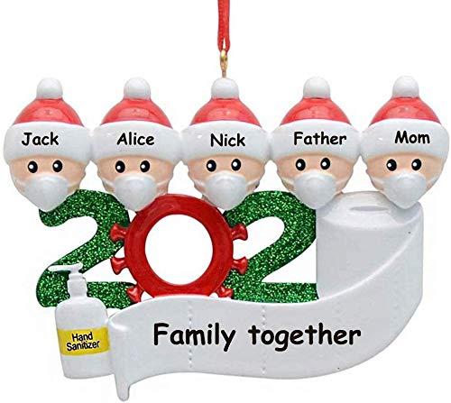 YiMoo Weihnachtsbaumschmuck, 2020 Quarantäne Survivor Familie, personalisiertes Weihnachtsdekorationsset, kreatives Geschenk (A: 5 Mitglieder)