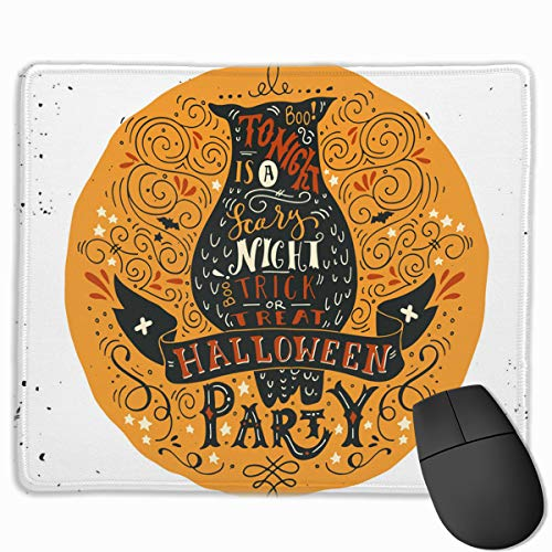 Halloween Party Poster with An Old Owl Mouse pad Custom Rectangular Non-Slip Rubber Mouse pad Gaming Mouse pad