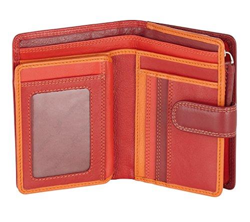 Visconti ® Leder Geldbeutel Damen RFID Schutz Geldbörse Damen Portemonnaie Bifold Mehrfarbig Portmonee in Geschenk-Box