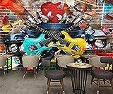 Blovsmile Personalización personalizada 3D grafiti De pared De ladrillo guitarra Bar KTV café restaurante Mural Papel tapiz Sala 3D A-200X150cm(WxH)