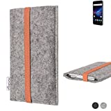 flat.design Handy Hülle Coimbra für Phicomm Passion 4 - Schutz Case Tasche Filz Made in Germany hellgrau orange