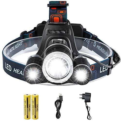 Wiederaufladbare Led-Stirnlampe - Siuyiu Laufende Kopflampe , Superhell 6000 Lumen Cree XML 3 T6 4 Modi Scheinwerfer mit 2*18650 Batterien, Wand-Ladegerät, Auto-Ladegerät für Campen, Wandern, Lesen Outdoor-Sport