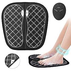 SHENGMI ABS Stimulator & EMS Electric Foot Massager Machine - Full Automatic Massage Foot Circulation Massager Machine for Men Women 10 Intensity Levels