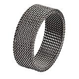 Geoffrey Beene Stainless Steel Men's Comfort Fit Mesh Ring , Gunmetal Grey