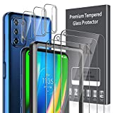 [6 Pack] LK 3 Pack Screen Protector + 3 Pack Camera Lens Protector for Motorola Moto G9 Plus, Tempered Glass, [Easy Frame Installation] HD Ultra-Thin, Anti-Scratch