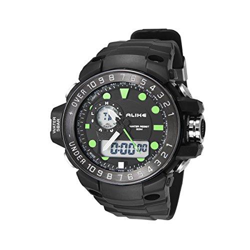 Alike AK15112 5ATM Impermeable para Hombre Digital analógico Dual Time Display Deportivo Reloj con Fecha/Alarma/cronómetro/Cuenta atrás/luz de Fondo/Goma (Verde)
