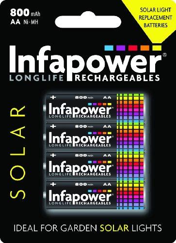 INFAPOWER Solar Light Replacement Batteries 4x AA 600mAh Ni-Mh B008