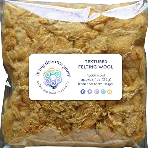 TEXTURED FELTING WOOL. Corriedale Fiber includes CURLY LOCKS for Needle Felting, Spinning, Doll Hair and Waldorf Crafts - Honey