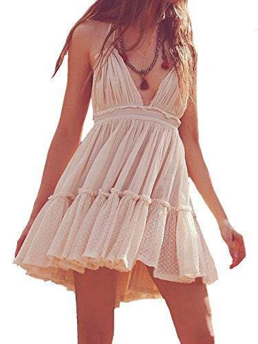 R.Vivimos Womens Summer Halter Deep V Neck Sexy Patchwork Mini Short Dresses Small Beige