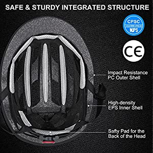 Zacro Adult Bike Helmet with Light, Adjustable Bike Helmets for Men Women Youth with Replacement Pads &Detachable Visor, Lightweight Cycling Helmet for Commuter Urban Scooter MTB Mountain &Road Bikers