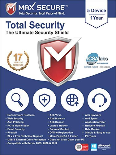 Max Secure Software Total Security for PC 2019 | Antivirus | Internet Security | 5 Device | 1 Year | [PC Online code]