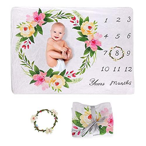 Dsaren Mensual Mantas Bebé Suave Forro Polar Manta de Hito Accesorio de Fotografía para Recién Nacido, Ideal Regalos de Baby Shower (Guirnalda)