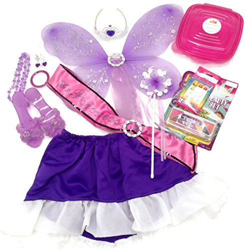 Handmade Dress Up Fairy Princess Deluxe Set: Jewelry Set, Make Up Set, Sparkle Wings, Dress Up Shoes, Crown, Wand, Skirt, and Princess Sash