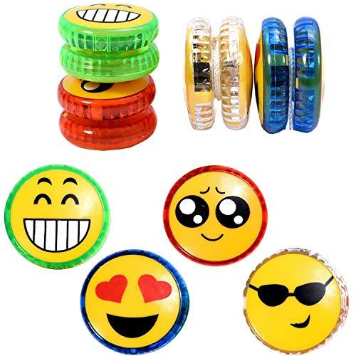 liuer Yoyo Luminoso 8PCS Yoyo Bambini con Luce LED Plastica Yo-Yo Giocattolo Bambini e Adulti della Ragazza del Ragazzo da Regal(Casuale Emoji-Expression Modello)