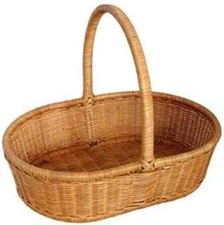 Asdfnfa Shopping Basket Large Capacity Fruit Woven Basket Portable Outing Cane Bamboo Basket asdfnfa (Color : Yellow)