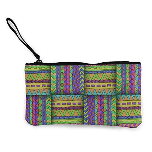 Moneda de lona, con patrón de color de mimbre, bolsa de cosméticos con cremallera, bolsa de maquillaje multifunción para teléfono móvil, paquete de lápices con asa