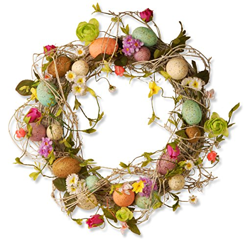 National Tree 18 Inch Easter Wreath with Mixed Flowers, Twigs and Pastel Eggs (GAE30-18WEF)