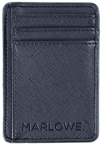 MARLOWE. Slim Minimalist Wallet - Black | Credit Card Holder with RFID Blocking | Thin Design Fits in Front Pocket