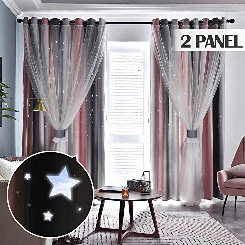 TINYSUN Rainbow Stripe Star Cut-Out Romantic Curtains for Bedroom 2 Panels,2-Layers Mix Design of Fabric & Tulle,Pretty Window Curtain for Kids Room(W52 x L84,Total is104-Inch Wide,Grey/Pink)