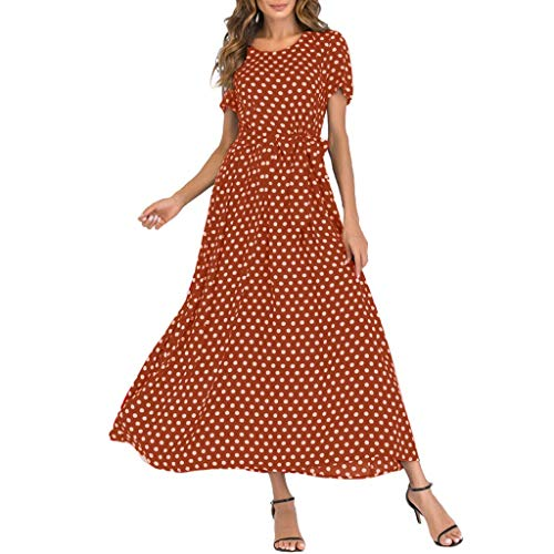 Moda Mujer Cuello Redondo Manga Corta Playa Vendaje de Lunares Manga Corta Verano y otoño Vestido Largo
