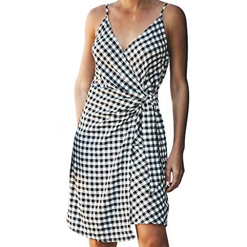 FRAUIT dames mode plaid casual zomerjurk kruis V-hals zonder mouwen geblokte onregelmatige jurk midijurk sexy elegant prachtig streetwear zacht comfortabele wikkeljurk