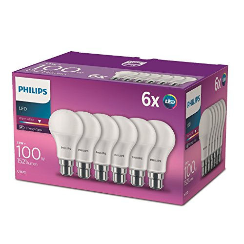 Philips Lighting Lot de 6 Ampoules LED Standard Culot B22, 13W équivalent 100W, Blanc Chaud 2700K, Dépolie
