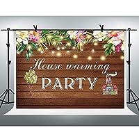 lovedomi 8x6ft ヴィンテージブラウン木製の床の家の温暖化ピンクの花甘い照明写真背景写真スタジオブース家族休暇誕生日パーティースタジオ小道具写真ビニール素材