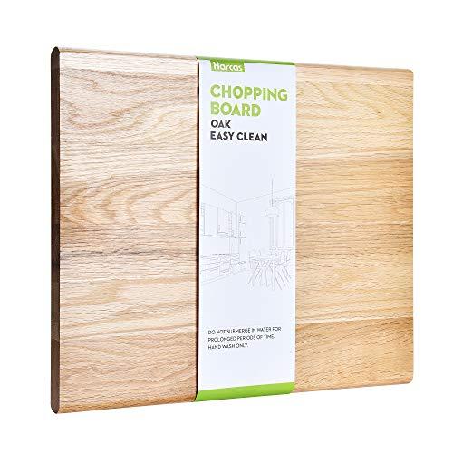 Tabla de cortar de madera de roble, de Harcas. Tabla de cortar de tamaño mediano, 36 cm x 30 cm x 2 cm. Ideal para carne, verduras y queso. Grado profesional para resistencia y durabilidad.