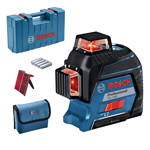 Bosch Professional Linienlaser GLL 3-80 (roter Laser, Innenbereich, max. Arbeitsbereich: 30 m, 4x AA Batterie, im Handwerkerkoffer)
